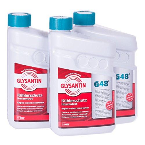 3x 1,5 L Liter BASF Glysantin® G48 Kühlerfrostschutz Frostschutzmittel Frostschutz Kühlerschutz Kühlmittel Konzentrat Kühler Frost Schutz Mittel blaugrün
