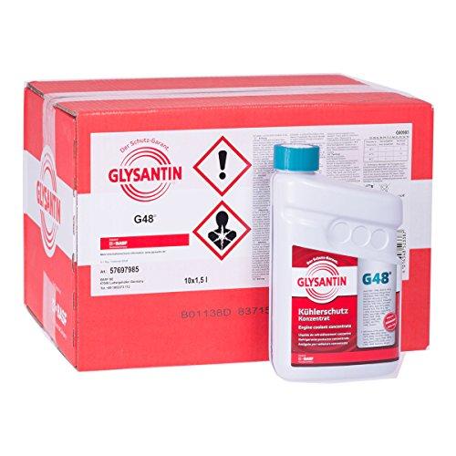10x 1,5 L Liter BASF Glysantin® G48 Kühlerfrostschutz Frostschutzmittel Frostschutz Kühlerschutz Kühlmittel Konzentrat Kühler Frost Schutz Mittel blaugrün