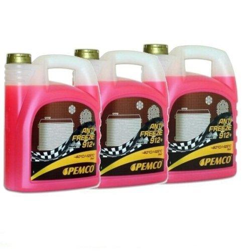 15 Liter (3×5) Kühler Frostschutz Kühlmittel Kühlflüssigkeit gemäß G12+ G12 Plus rosa rot gebrauchsfertig -40°